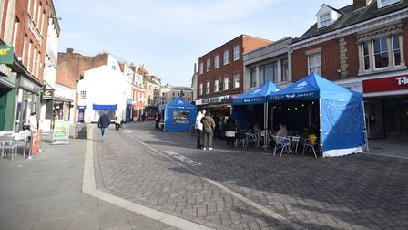 Part of Ipswich market has relocated to Queens Street. Picture - but the customers have not followed