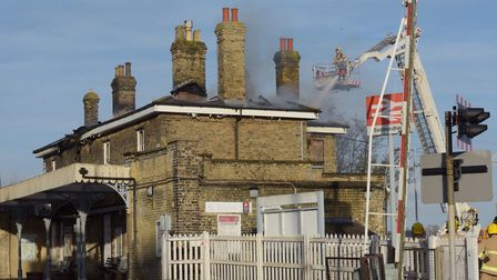 Firefighters tackle a blaze at Saxmundham railway station - I can't wait to see it restored. Pictur