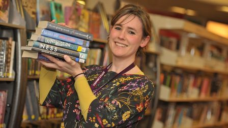 Sophie Green, with some of the books to mark LGBT History Month. Picture: SARAH LUCY BROWN