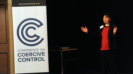 Min Grob speaking at the Coercive Control conference at the Theatre Royal in Bury St Edmunds. Pictur