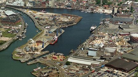 The Ipswich Dock area in June 1992. The area along the quay, bottom right, still had remains of the