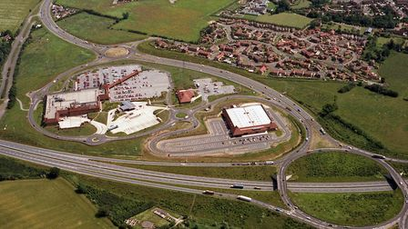 The Copdock Mill interchange in June 1992. The Toys R Us store and Tescos Supermarket (left) have b