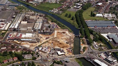 Sainsburys Supermarket, off Hadleigh Road, Ipswich, was being built in June 1992. The River Gipping