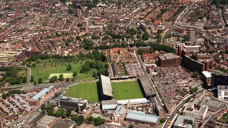 The Ipswich town Football Club ground is in the centre foreground. Some of the stands have been rebu