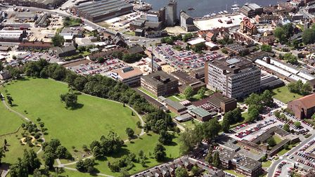 The Suffolk College buildings are in the centre of this 1992 photograph with Alexandra Park in the b
