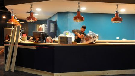 The finishing touches are being put in place in the Superbowl at Ipswich's Buttermarket shopping cen