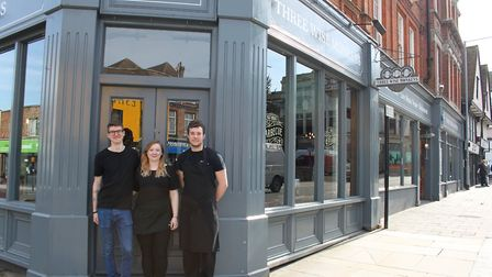 Three Wise Monkeys pub, Colchester with staff members, Left - Aidan Kerins (Brewer), Rebecca Knights