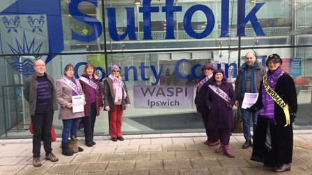 Ipswich WASPI campaigners gather at Endeavour House on International Women's Day 2018. Picture: GEMM