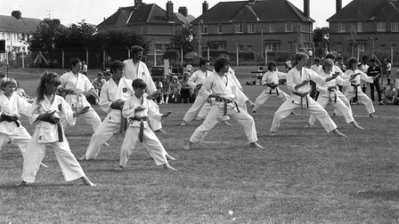 A martial arts display takes place on the field