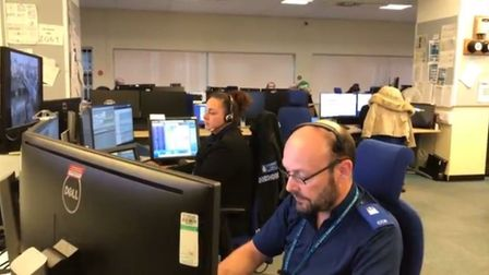 Suffolk police's control room, based at the headquarters in Martlesham. Picture: LAUREN DE BOISE