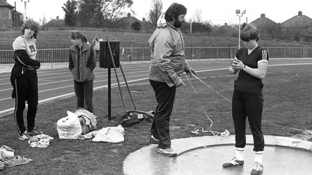 British shot put athlete Geoff Capes leading classes on the sport at Northgate Sports Centre. Pictur