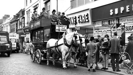 Excitement in October, 1962, with the opening of the Fine Fare store in Westgate Street, Ipswich. Pi