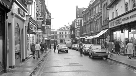 The Buttermarket, Ipswich, in 1974. Shops included (on the right) Ashley Russells ladies clothing.
