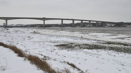 Recent snowfall beneath the Orwell Bridge. Picture: SARAH LUCY BROWN