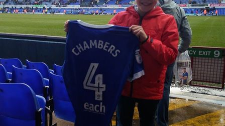 Ipswich Town captain Luke Chambers handed over his match-day shirt to Matthew Hall after spotting th