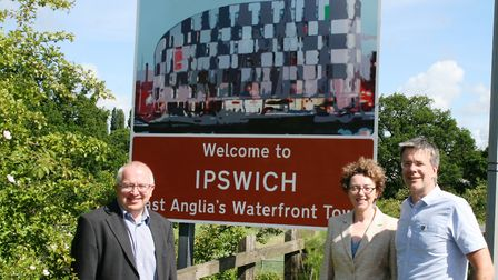 David Ellesmere pictured with mayor Sarah Barber and Paul West with new signs for Ipswich. He descri