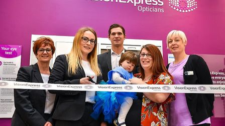 Ribbon Cutting - left to right - Anne Tinsley, Emma Cousins, Samuel McClean, Lavinia Crosbie, Lucy C