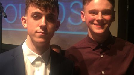 Will Brown (left) and Sam Toogood from Suffolk New College, who both helped present the United Sound