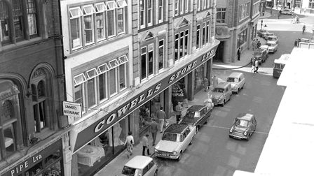 Cowells store in the Buttermarket, Ipswich, in August 1963. The shop was built in 1892 and was demol