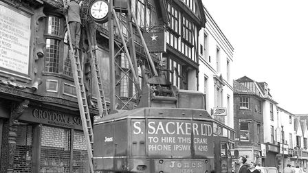 Croydon and Sons jewellers shop, in Tavern Street, had their clock returned after repairs in May 196