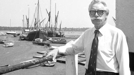 Pat Watts, the Landlord at the Butt and Oyster, Pin Mill, photographed in July 1976. Picture: RICHAR