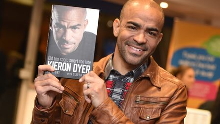Kieron Dyer launches his new memoir during an event at Portman Road. Picture: GREGG BROWN
