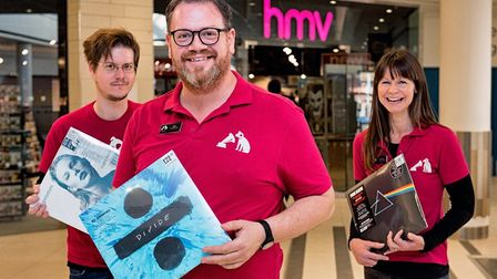 HMV enjoyed a successful opening at Sailmakers shopping centre at the weekend. From left: James Driv