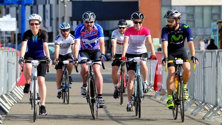 Riders set off on the Crafted Classique sportive cycle ride from Neptune Marina in Ipswich. Picture: