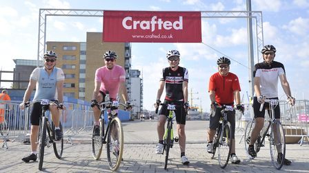 Cyclists taking part in a previous Crafted Classique event kick off the race from Ipswich Waterfront