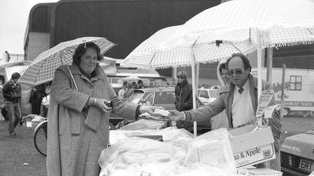 Shopping stalls were among the attractions at the event. Can you name this shopper? Picture: PAUL NI