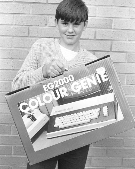This young man looks pleased with his EG2000 Colour Genie computer at the Gainsborough gala day. Pic