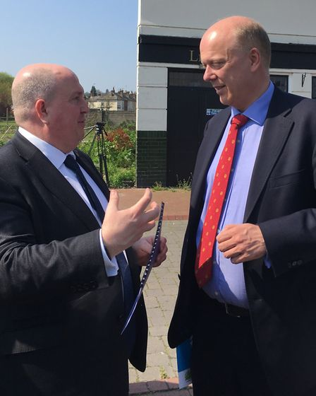 Suffolk County Council leader Colin Noble (left) outlines the plans for the Upper Orwell Crossings i