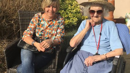 Resident June Claxon, 89, with her daughter. Picture: BUCKLESHAM GRANGE
