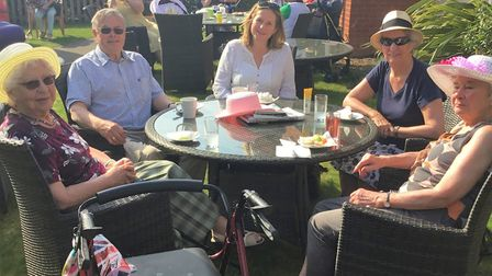 Bucklesham Grange Care Home resident Sylvia Stallard, 89, with friends and family. Picture: BUCKLESH