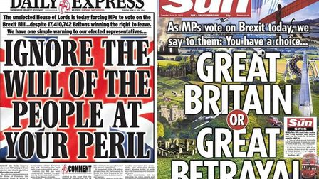 Front covers of the Daily Express and The Sun