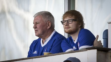 Ed Sheeran watches on during the championship match between Ipswich Town and Aston Villa at Portman