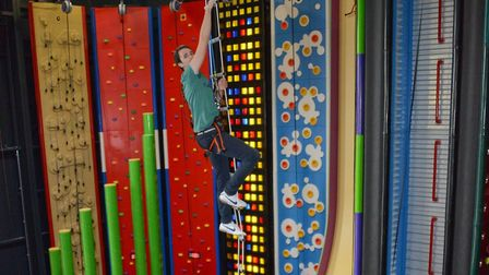 One of the towering climbing challenges at a Clip 'n Climb complex. Picture: ENTRE-PRISES/GAVIN NEWM