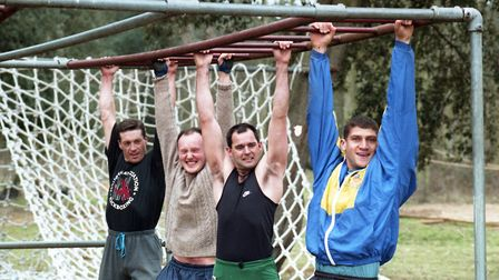The team at Crown Pools take on the monkey bars at Orwell Park School. Picture: DAVID KINDRED