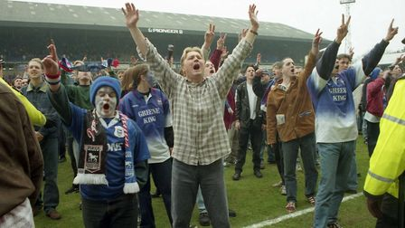 Town fans invade the Portman Road pitch. Picture: ARCHANT