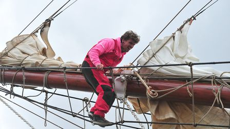 A sailor tends to his ship. Picture: SARAH LUCY BROWN