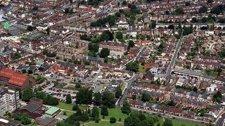 St Helen's School, Ipswich, is in the centre of this aerial photograph taken in June 1992 from over