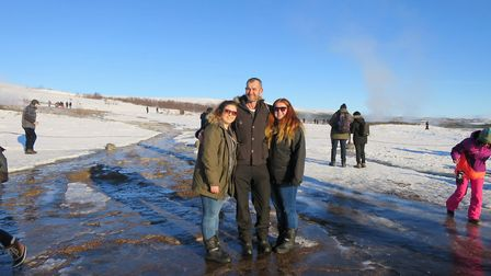 John Hawkes with daughters Emma and Amy in Iceland. Picture: SUPPLIED BY THE HAWKES FAMILY