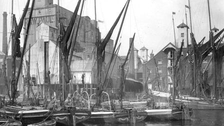 Ipswich Dock in the mid 1930s. This photograph was taken from what was then known as Flint Wharf, lo