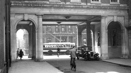 The Lloyds Avenue arch looking towards the Cornhill. The arch was cut through the Victorian building