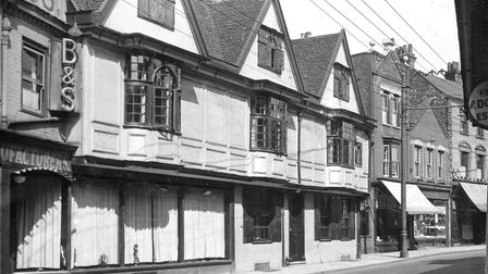 Fore Street, Ipswich. When this photograph was taken in the 1930s the sixteenth century building had
