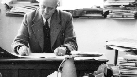 William Lovell at work in the East Anglian Daily Times and Evening Star library at the Carr Street