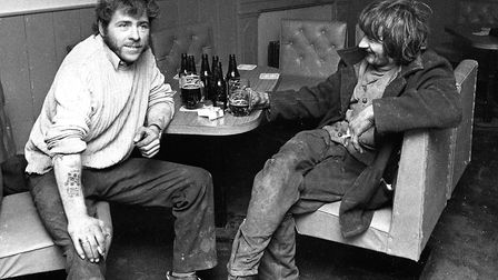 Do you recognise these two, pictured at the Spread Eagle in 1974? Picture: ARCHANT