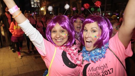 Participants celebrating at the 2017 Midnight Walk in Ipswich. Picture: NIGE BROWN