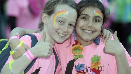 Polly Blackburn and Ruby Abrose at the 2017 Midnight Walk. Picture: NIGE BROWN