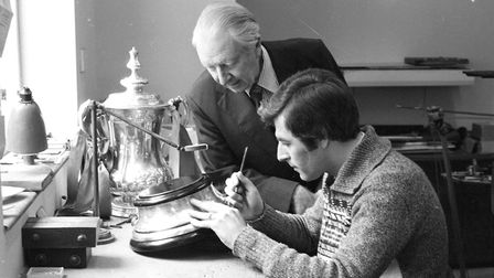 The careful engraving to the base of the FA Cup after Ipswich beat Arsenal. Picture: DAVID KINDRED